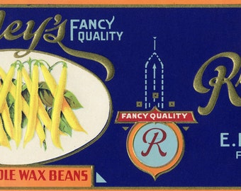 Rowley Yellow Beans can label, Fabius New York