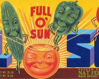 El Sol Vegetable crate label from Fresno CA