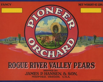 Pioneer Wagon Train Pear Crate Label Medford Oregon
