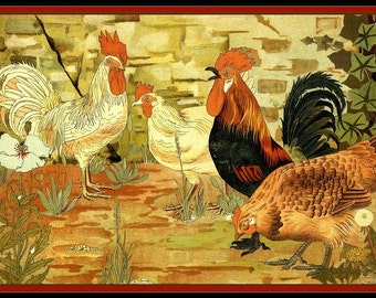 Roosters and Chicken Refrigerator Magnet