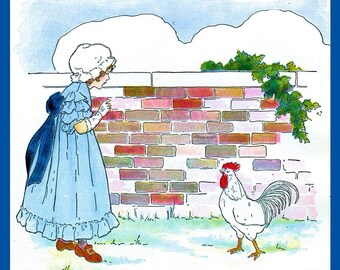 Little Girl and Rooster Refrigerator Magnet - FREE US SHIPPING