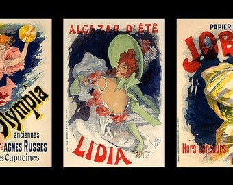 Three Vintage French Posters Large Refrigerator Magnet - FREE US SHIPPING