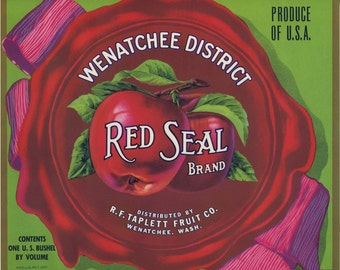 Red Ribbon for Red Apples Fruit Crate Label
