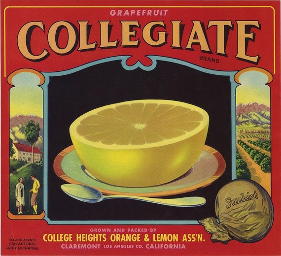 Collegiate Brand grapefruit fruit crate label Claremont California