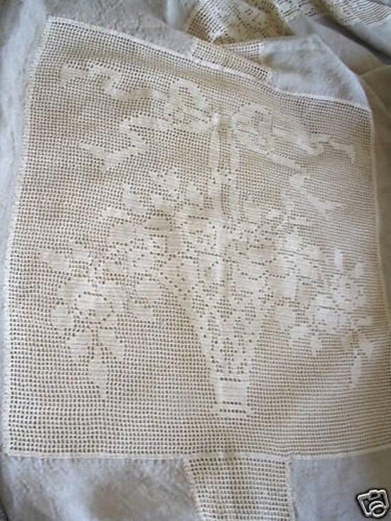 Handmade Antique Linen Crochet Bedspread 2 Free Dresser Runners