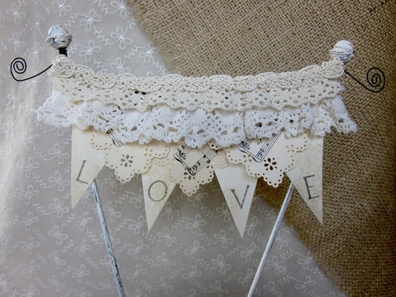Sing a Song Of LOVE Bunting Wedding Cake Topper