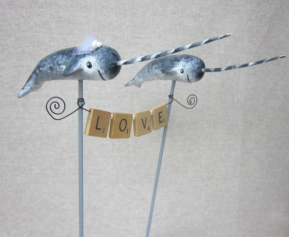 Reserved for Abbey Narwhal Wedding Cake Topper