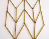 Chevron Triangle Totem Vintage Brass Bar Tube Necklace