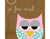 O is for owl - cute educational owl collage poster print on wooden background