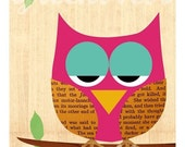 Hoot - pink Collage Owl Poster Print