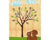 Little Treehouse owl and squirrel poster print