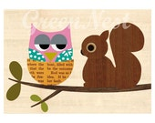 Cute Squirrel and Baby Owl Collage Poster print on wooden background