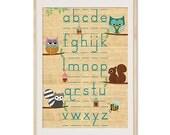 A3 Size: learn abc cute Nursery Poster Print on wood, Baby Nursery Decor, Wallart, Wall Decor, Kids Room