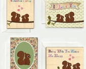 Set of 8 cute handmade squirrel valentine cards for lovers