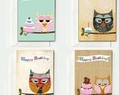 Set of 8 cute vintage happy birthday owl cards