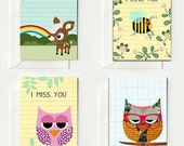 8 Cute Cards for lovers and best friends with owl, deery, bee, nerd owl - GreenNest