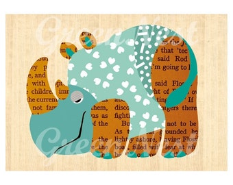 Cute Rhino Collage Poster Print on Wood