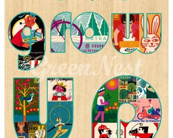 Never grow up - vintage 70s safety matches collage poster print on wooden background