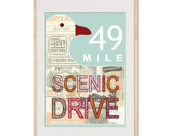 Light Aqua San Francisco 49 Mile Scenic Drive Collage Poster Print