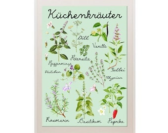 NEW A3 Size: Vintage kitchen german herb Poster Print -  Wallart, Decoration, botanical chart