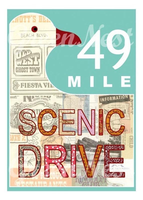 Aqua San Francisco 49 Mile Scenic Drive Collage Poster Print