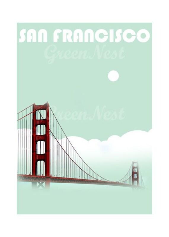 Aqua San Francisco Golden Gate Bridge Collage Poster Print