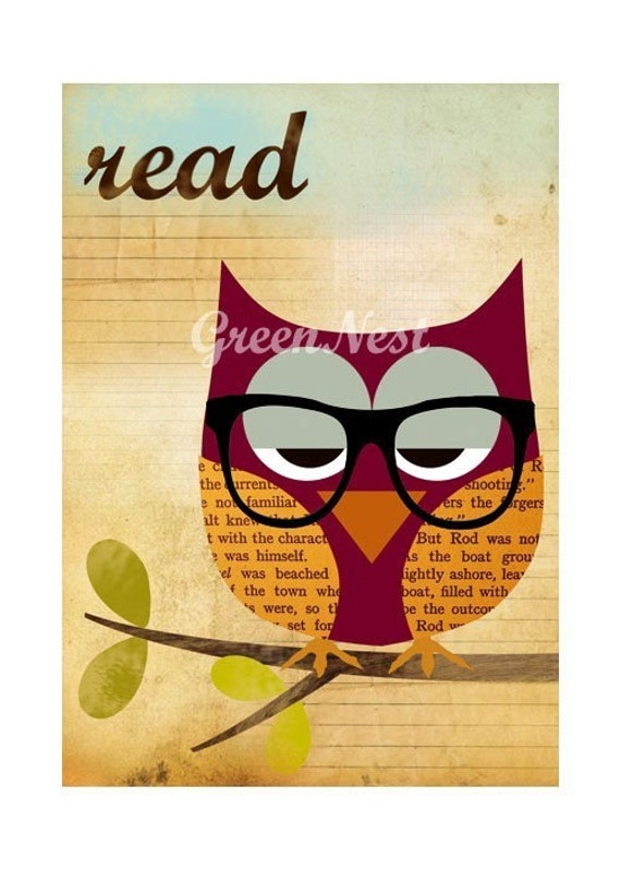 Read - Nerd Owl Collage Poster Print