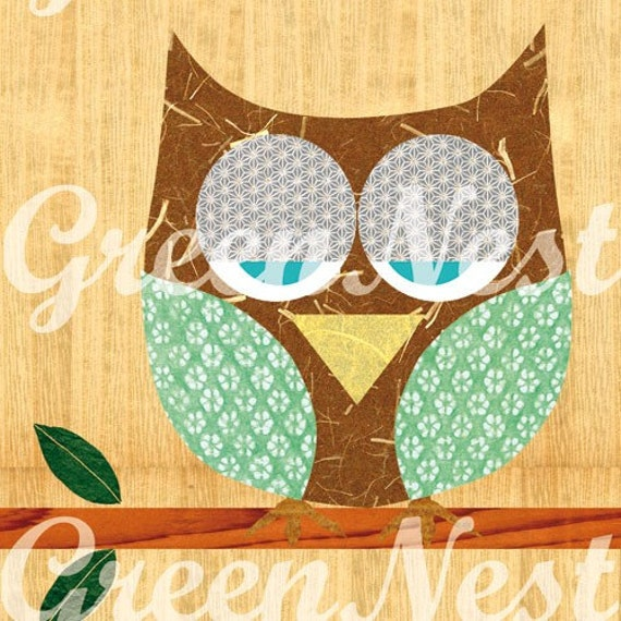 Hoot -Cute Owl  Collage Art Print