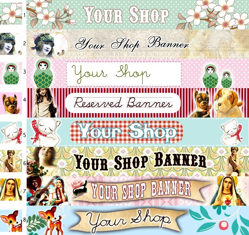 Kitschy cute vintage etsy shop banner header with free avatar for Vintage sites like etsy