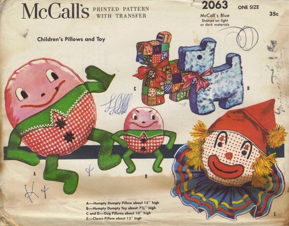 Humpty Dumpty, Clown and Scotties Pillows Vintage 1954 Sewing Pattern McCalls 2063