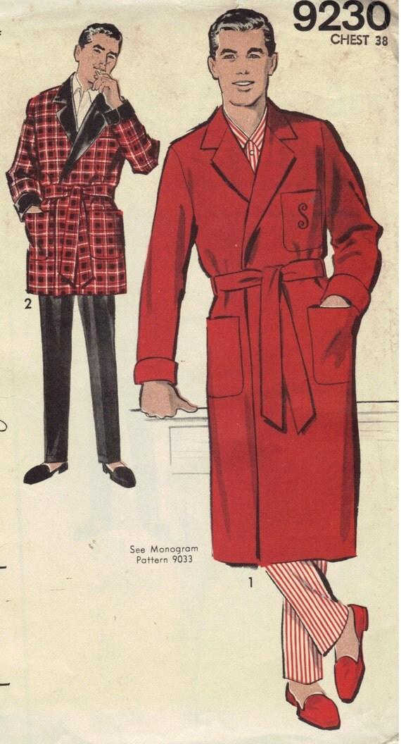 Men S Smoking Jacket Robe Vintage Sewing Pattern 1950s