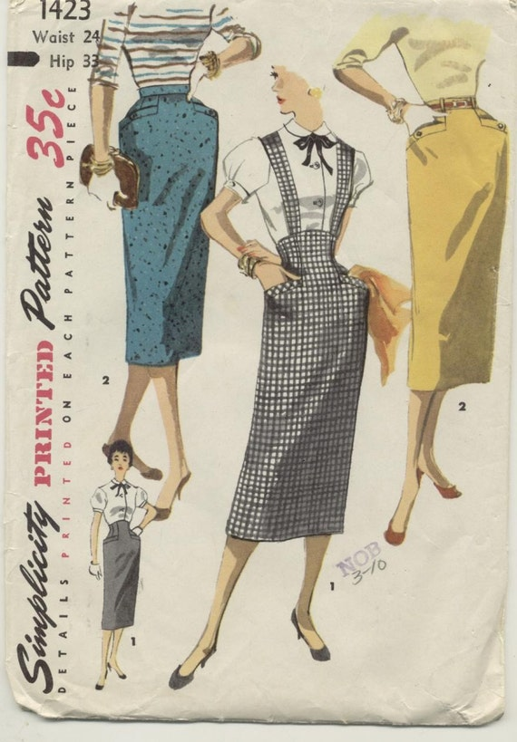 high waisted pencil skirt sewing pattern 1955 by