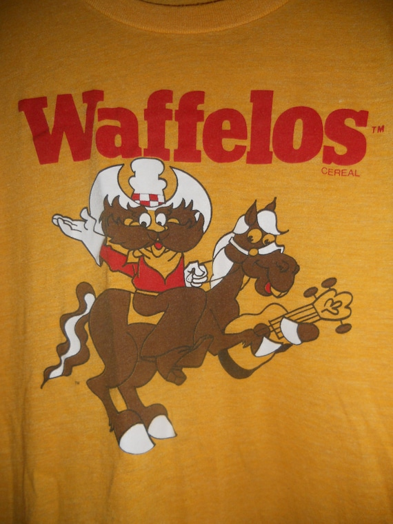 VERY RARE hard to find  vintage 1982 super soft paper thin ralston purina waffelos cereal  premium mail away t shirt