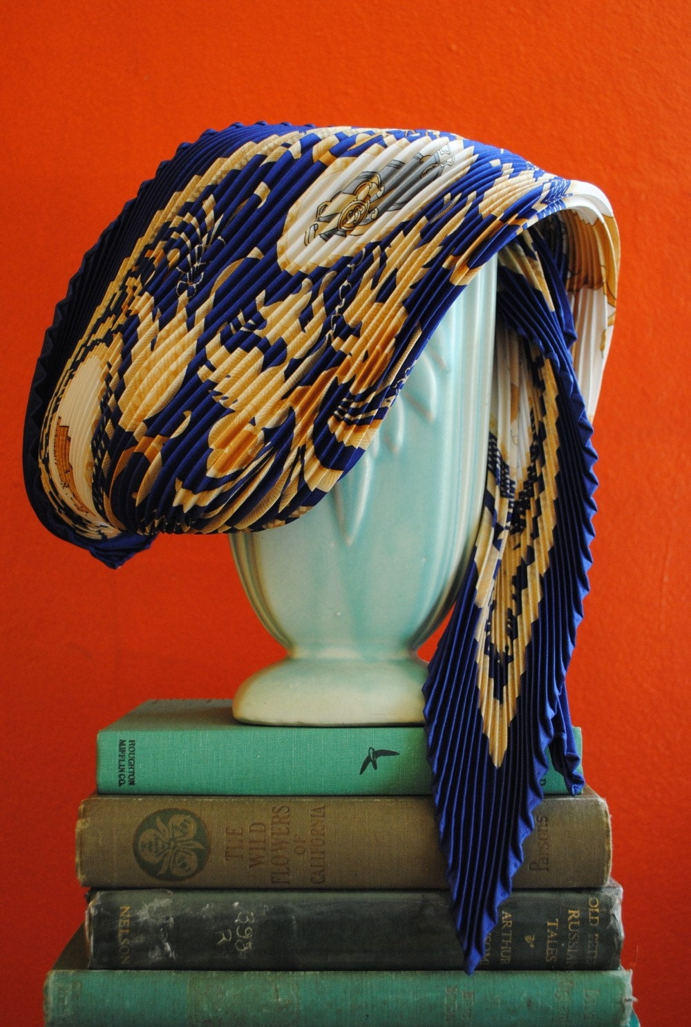 Vintage Hermes plisse silk scarf La Presentation by henhouse Vintage Hermes Silk Scarves