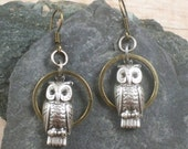 Retro Owl Earrings Brass and Silver - jewelry by Simply Willow - Vintage, Victorian, Nature, Woodsy Gift