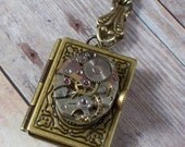 Victorian Book Locket Necklace ... Steampunk