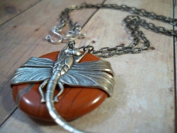 Doreen's Dragonfly in silver (brecciated jasper)