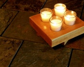Distressed Pine Candle Holder, Honey Brown
