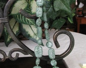 Faux Jade Nugget Necklace and Earrings Set