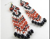 CLEARANCE SALE! Ventura Native American Style Beadwork Dangle Chandelier Seed Bead Earrings Red and Black