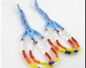 CLEARANCE SALE! Chelo Native American Style Beadwork Dangle Seed Bead Earrings