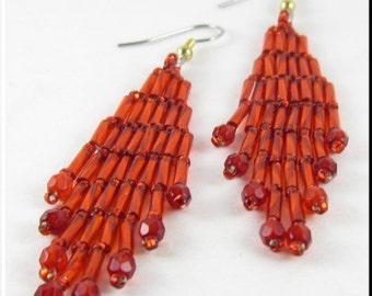 Bugle Girl Native American Style Beadwork Dangle Chandelier Seed Bead Earrings in Red