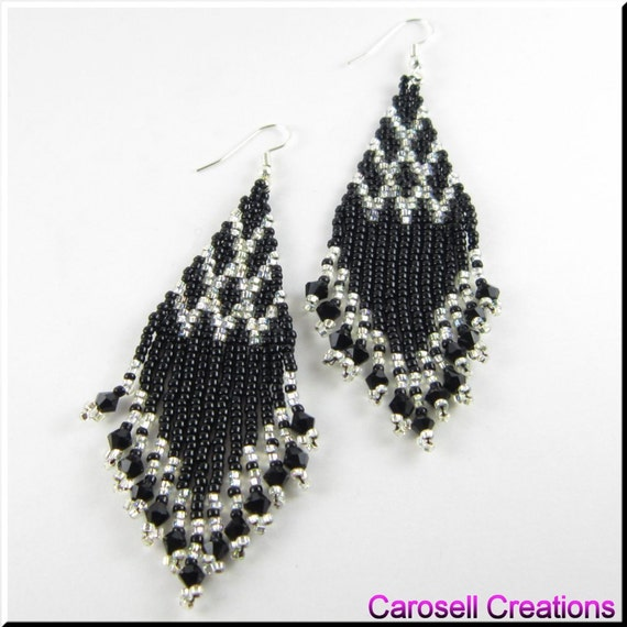Native American Style Beadwork Seed Bead Earrings, Black and Silver Chandelier Czech Point