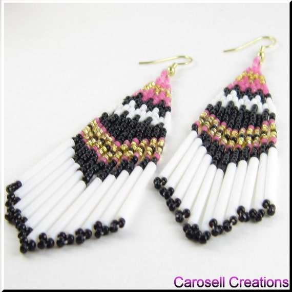 On The Border Beadwork Southwestern Chandelier Seed Bead Earrings