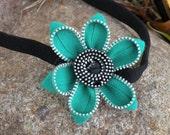 Greens and Black Zipper Vintage Flower Head Band