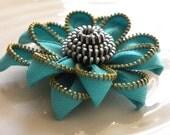 Blue Vintage Zipper Flower Brooch or Hair Clip