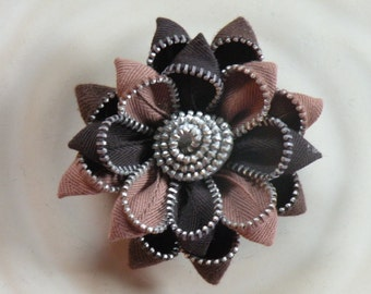 Brown Vintage Recycled Zipper Flower or Hair Clip