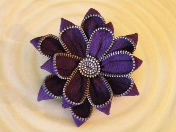 Purple Up Cycled Vintage Zipper Brooch or Hair Clip