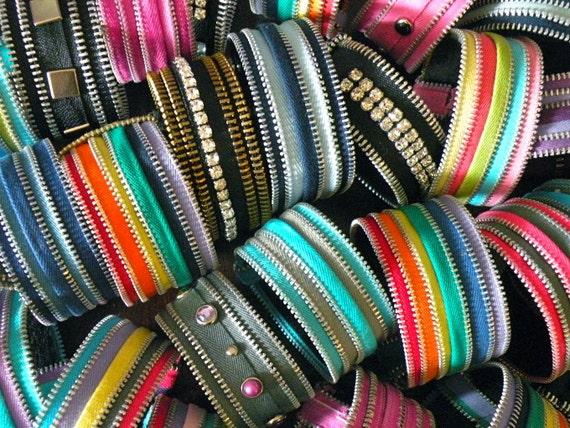 Recycled  Vintage Zipper Bangle Bracelet by Re Zip It