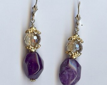 718 Amethyst and Crystal Earrings (February's Birthstone), Aquaris